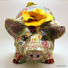 Adorable pig by Lisa Betz - Mosaic Gallery -