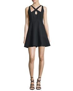 Crisscross-Front+Fit-&-Flare+Dress,+Black+by+Halston+Heritage+at+Neiman+Marcus.