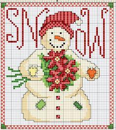 Från BDCOUTURE kommer detta fina mönster på en vacker snögubbe med julstjärnor i famnen.