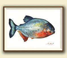 PRINT- Piranha fish  -gamefish - fishing art - fish print painting art print - Piraña fishing decor - Art Print by Juan Bosco by SanMartinArtsCrafts on Etsy