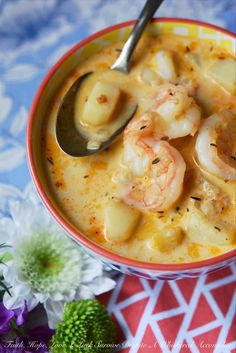 One-Pot Cajun Shrimp Chowder Whether you're looking to celebrate Mardi Gras or just in need of a comforting bowl of spicy seafood soup, this one-pot shrimp chowder is sure to satisfy your Cajun cravings. One-Pot Cajun Shrimp Chowder Best Seafood Recipes, Cajun Recipes, Fish Recipes, Shrimp Recipes, Recipies, Crock Pot Recipes, Cooking Recipes, Healthy Recipes, Hearty Soup Recipes