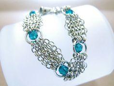 Blue Eyes Crystal Bracelet Chainmaille in Southwestern Style OOAK Handmade by JeannieRichard, $70