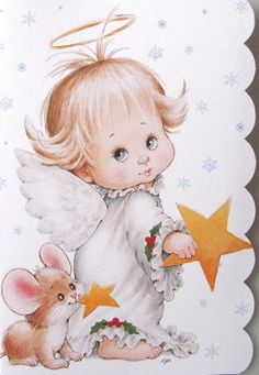 Morehead Baby Child Angel Halo Star Mouse Christmas Holiday Greeting Card New…