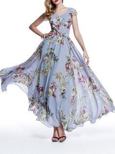 Chiffon Boho V Neck Floral-print Short Sleeve Maxi Dress - StyleWe.com