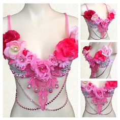 Pink and Silver Hearts and Roses Bra Top for Music Festival Rave EDM Disco Dance by RepublicOfRave on Etsy