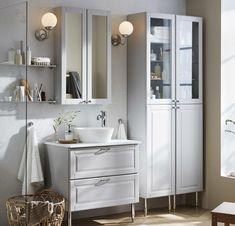 Bathroom Sink Cabinets, Undermount Bathroom Sink, Bathroom Renos, Laundry In Bathroom, Ikea Inspiration, Ideal Bathrooms, Grey Bathrooms, Ikea Interior, Gray Vanity