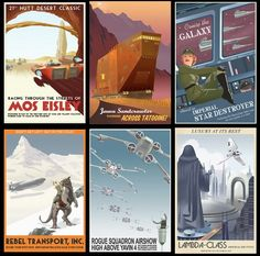 Vintage Star Wars travel posters. A geek office must.