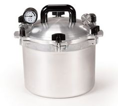 My favorite canner.  3rd Anniversary gift in 1994.  All American Pressure Canner 915   15 Quart Pressure Canner