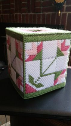 Rosebud quilt tissue box cover by CunninghamCrafts on Etsy