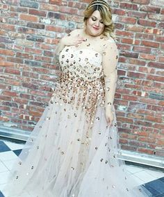Christian Siriano Plus Size Wedding Gown | Nicolette Mason donned a gorgeous custom creation featuring gold embellishments. #refinery29 http://www.refinery29.com/2015/05/88004/christian-siriano-wedding-dress-plus-size-nicolette-mason