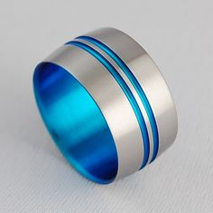 Mens Titanium Ring , Odyssey in New Beginning Blue