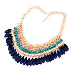 Layered Bohemian Blue Statement Necklace