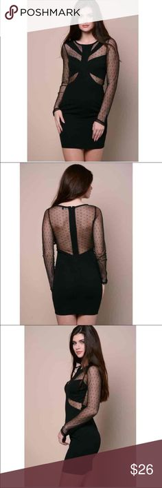 New Sexy Women's Little Black Bodycon Dress New Women's Black See Through Mesh Sexy Dress  Large (other sizes available)  One Piece dress Long Sleeve; Bodycon dress  Black with see through mesh in the back and front  New with tags   ✔️Ships 1-3 days  ✔️Discount with bundles only  ✔️Once a purchase is made, I cannot cancel the order ✔️Any questions, feel free to ask :) Dresses Mini
