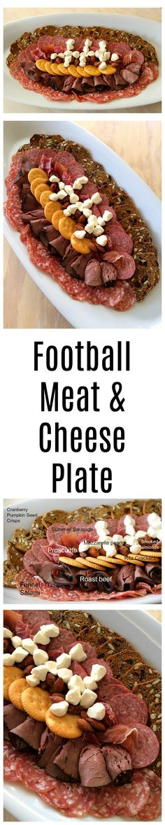 A Football-Shaped Meat and Cheese Plate might be the perfect game-day appetizer. Create it out of your favorite meats, cheeses and crackers. Touchdown! #football #footballfood #gameday #superbowl #party #charcuterie #Shockinglydelicious