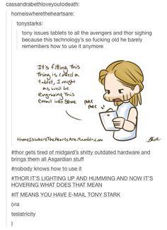headcanons tumblr Thor Odinson fanart artwork Tony stark Asgardian technology