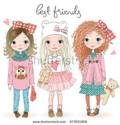 Three hand drawn beautiful cute little girls with Teddy bears on the background with the inscription best friends. Vector illustration.