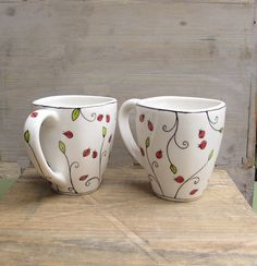 a pair of ladybug coffee mugs, spring garden gift for the gardener, entomologist. a pair of ladybu Sharpie Designs, Sharpie Projects, Sharpie Crafts, Mug Designs, Sharpie Paint Pens, Sharpie Art, Sharpies, Hand Painted Mugs, Hand Painted Ceramics