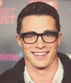 Colton Haynes with glasses