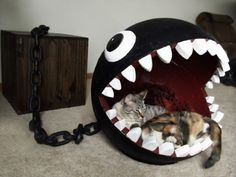 Cats Toys Ideas - This is a combination of cat bed and storage chest based on the Chain Chomp character from the Super Mario Bros. I own a cat furniture company - Ideal toys for small cats
