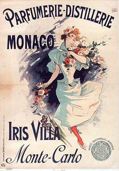 ✨ Jules Chéret (1836-1932) - Parfumerie-distillerie Monaco. Iris Villa. Monte Carlo, 1897. Lithographie en couleurs, Imp. Chaix (Ateliers Chéret), Paris