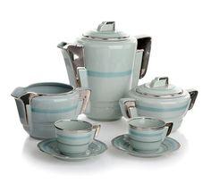 Portuguese Art deco tea set - Electro-cerâmica do candal Vintage Pottery, Vintage Tea, Coffee Set, Coffee Time, How To Make Tea, Chocolate Pots, Cool Art, Awesome Art, Machine Age