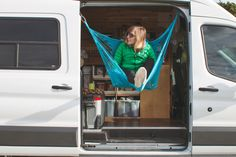 In an ideal world, every van has a hammock. Here's a plan to DIY your way into your own side door hammock paradise. Ford Transit Connect Camper, Ford Transit Campervan, Van Camping, Camping Life, Camping Items, Vw T5, Motorhome, Van Dwelling, Living On The Road