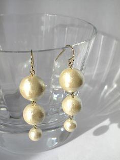 コットンパール3粒ピアス Diy Earrings, Pearl Earrings, Handmade Wire Jewelry, Pearls, Crafts, Accessories, Fashion, Ear Rings, Moda