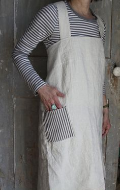 Shopkeeper's Apron Natural Linen and Ticking by ilocollective
