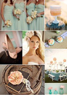 peach and aqua mint wedding inspiration #mint #wedding #details