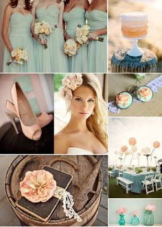 peach and aqua mint wedding inspiration #mint #wedding #details