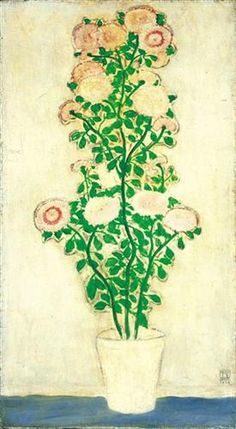 Chrysanthemums with Green Leaves - Sanyu