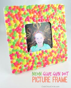 Neon Glue Gun Dot Picture Frame Craft Idea for Kids by Club Chica Circle