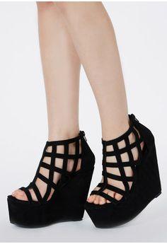 Berenita Suede Caged Wedges - Footwear - Wedges - Missguided