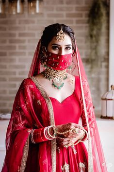 Indian Bridal Outfits, Indian Bridal Fashion, Bridal Dresses, Indian Bridal Photos, Weeding Dresses, Bridal Mask, Bridal Makeup, Wedding Makeup, Indian Wedding Bride