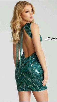 8a3c37b1 Jovani Short and Cocktail 55842 Green Embellished Open Back Short Dress  55842