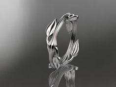 14kt  white gold  leaf and vine wedding ring,engagement ring ADLR31A ....makes me think of Ashley :)