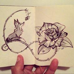 Fechando a noite com um sketch  A raposa e a rosa #fox #rose #raposa #rosa…