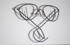 craig martin glasses installation - Google Search Michael Craig, Contemporary Sculpture, Everyday Objects, Round Glass, Sculptures, Prints, Identity, Wire, Fine Art