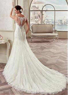 Elegant Tulle & Satin Bateau Neckline Mermaid Wedding Dresses With Beaded Lace Appliques