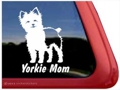 "Yorkie Mom | DC593MOM | High Quality Adhesive Vinyl Window Decal Sticker - 5"" tall x 4"" wide by NickerStickers on Etsy https://www.etsy.com/listing/157025377/yorkie-mom-dc593mom-high-quality"