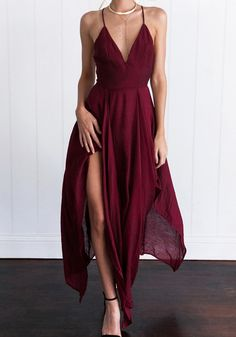 Wine Red Plain Irregular Plunging Neckline Sexy Polyester Maxi Dress
