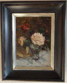 Maguy Hoebeke: Stilleven bloemen in vaas.