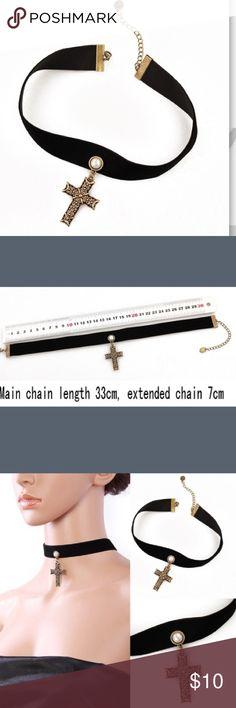 Black & Gold Women's Cross Collar Choker Black & Gold Women's Cross Collar Choker Jewelry Necklaces