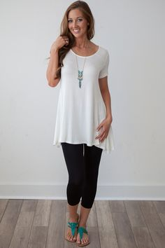 Magnolia Boutique Indianapolis - Short Sleeve Swing Tunic - Ivory, $27.00 (http://www.indiefashionboutique.com/short-sleeve-swing-tunic-ivory/)
