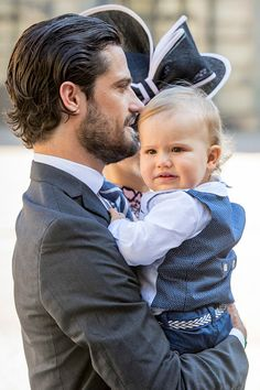 Prince Carl Philip of Sweden and son Prince Alexander arrive for a thanksgiving service on the occasion of The Crown Princess Victoria of Sweden's 40th birthday celebrations at the Royal Palace on July 14, 2017 in Stockholm, Sweden.