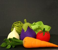 Wool Felt Play Food - Tomato - Waldorf Inspired Kitchen or Market Place Accessory for Imaginative Play. $12.00, via Etsy.
