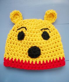 Winnie the Pooh Hat Yellow Crochet Bear Hat  SIZES by wadamska, $20.00