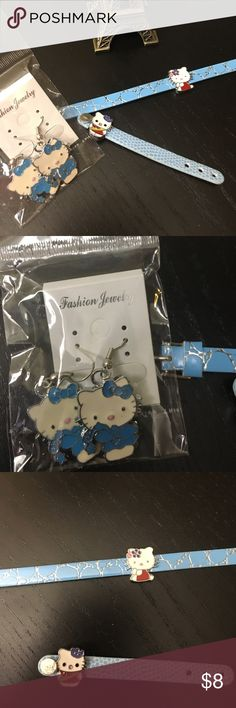 Hello Kitty blue jewelry lot earrings bracelet Hello Kitty lot of blue jewelry! Includes earrings, adjustable bracelet and ring Hello Kitty Accessories Jewelry