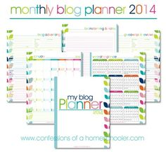 2014 Monthly Blog Planner – FREE | Confessions of a Homeschooler