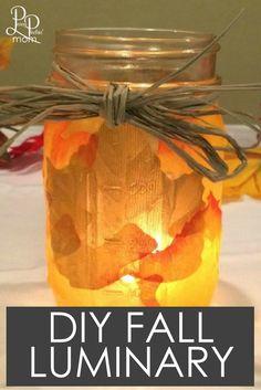 Easy DIY Fall Decoration idea - leaf mason jar luminary!